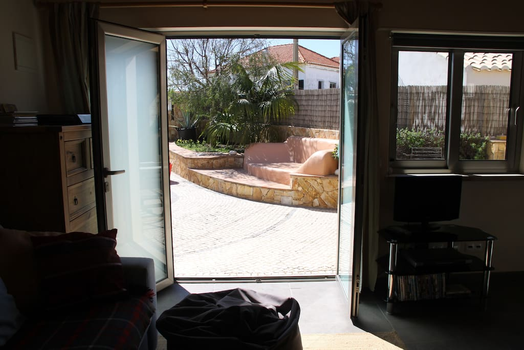 Patio doors opening to the garden
