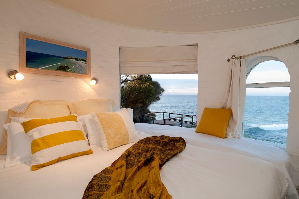 Romantic round tower bedroom with sea views