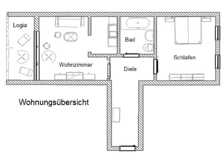 Ferienwohnung Alte Hofmark Kelli (Bad Birnbach), Ferienwohnung mit Loggia (50qm) mit Blick ins Rottal