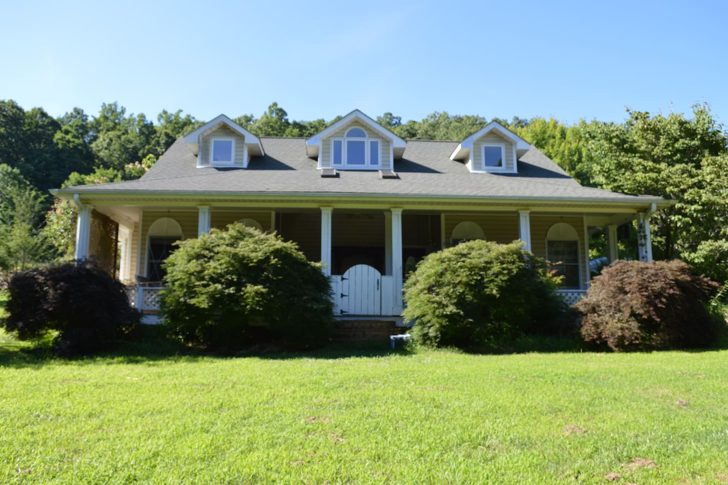 Beautiful home nestled in the Blue Ridge Mountains. Outside amenities include porch swing, hot tub, fire pit, trampoline and 3 acres of cleared land.