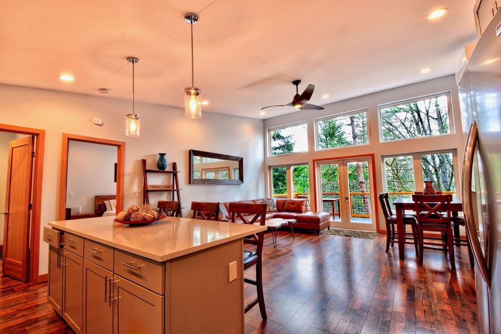 Open floor plan with quality furnishings and finishes.