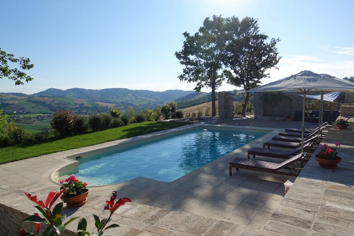 Beautiful stone villa - private solar heated pool.