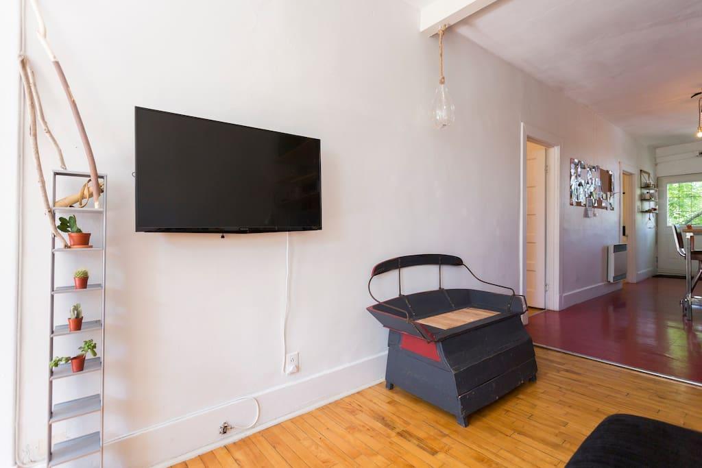 Salon lumineux avec téléviseur