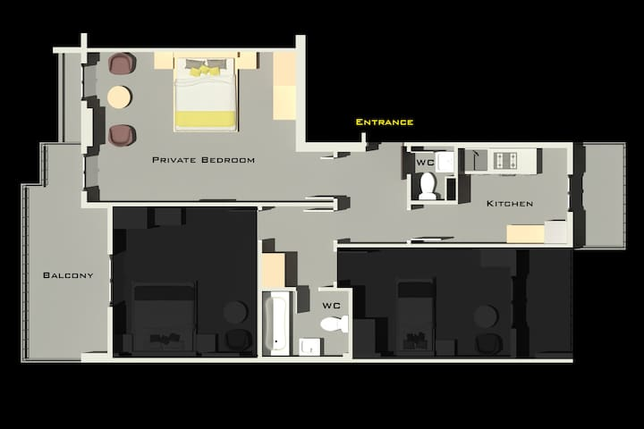 Plan of the apartment, showing the private and shared rooms. The apartment will be ready by november 1st.
