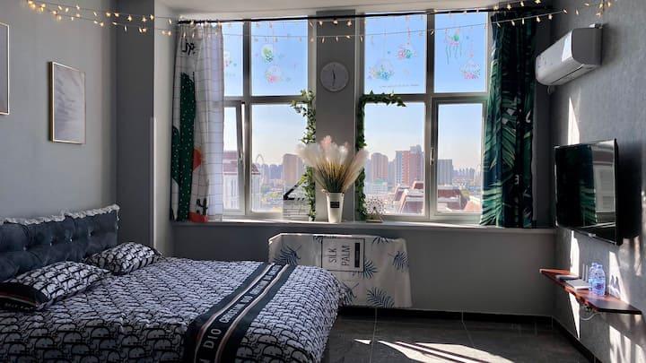 新开河畔 俯瞰天眼ins小清新阳光充沛视野开阔大床房