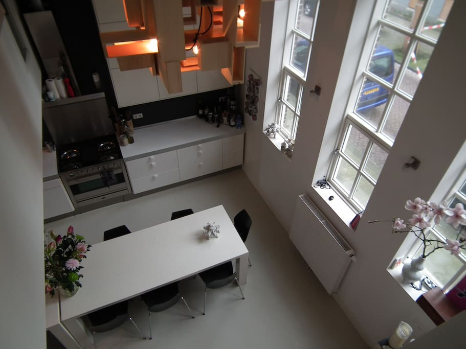 Large modern kitchen. Picture taken from upstairs open area.