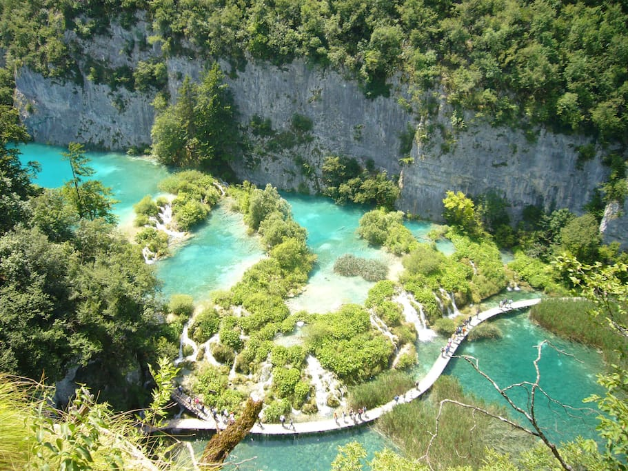 Plitvice Lakes National Park is 20 km away