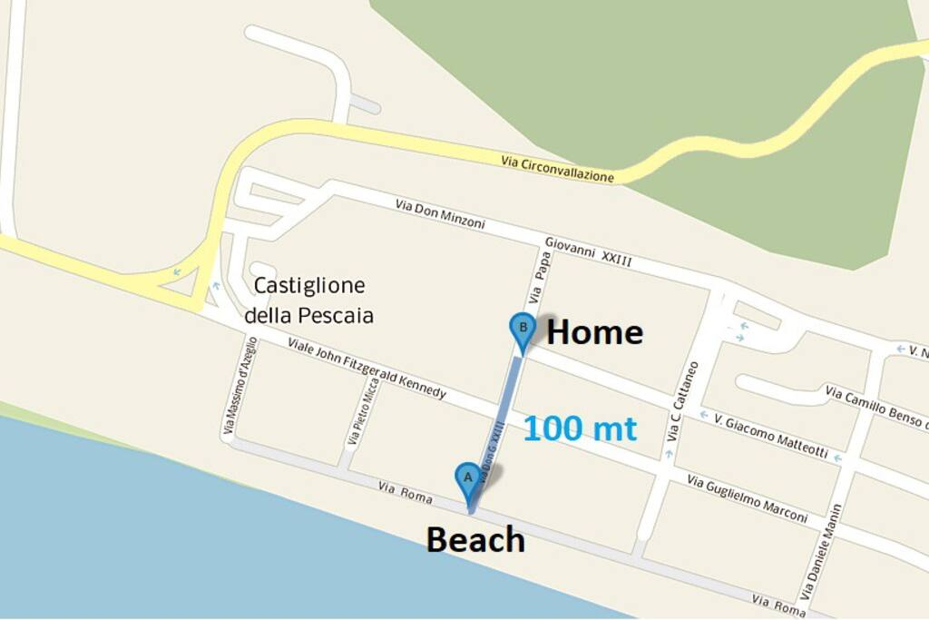 Distance to the beach (100mt)