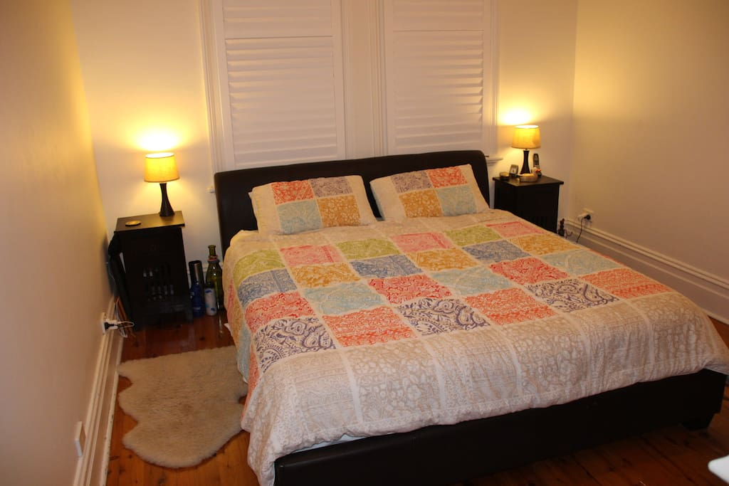Large master bedroom, king-size bed with en suite and walk in wardrobe.