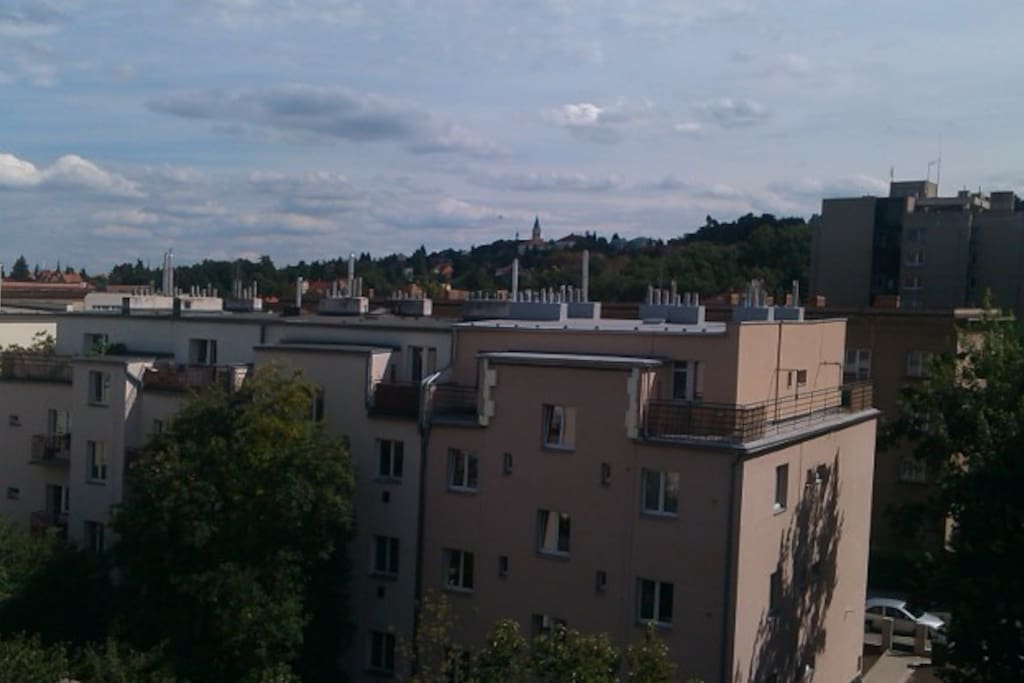 From balcony you can see Prague castle