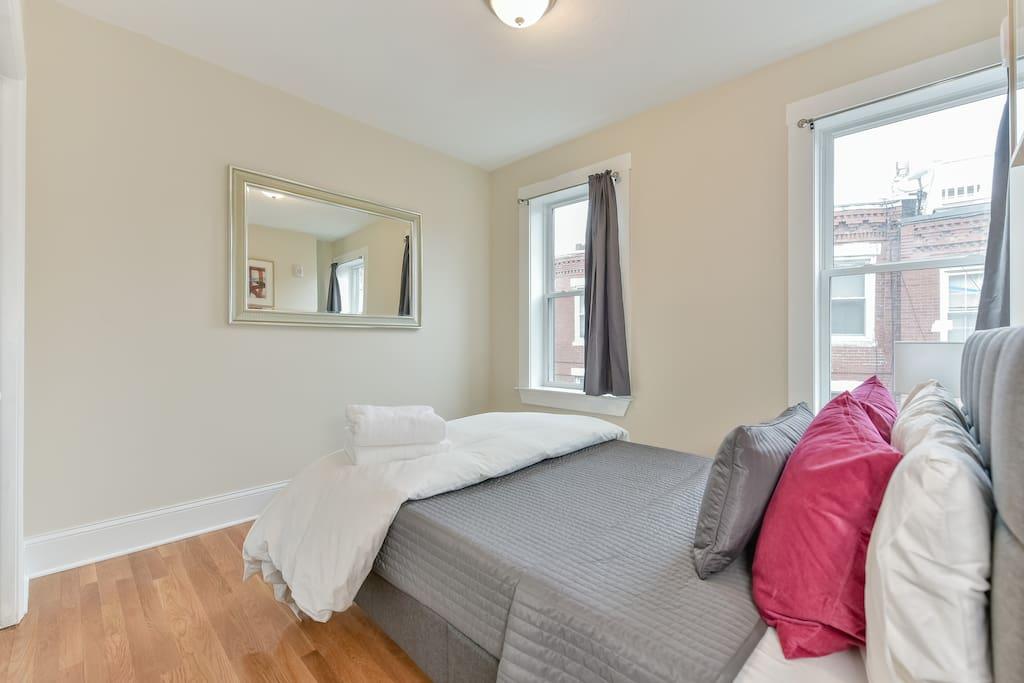 Spacious bedroom with plenty of windows