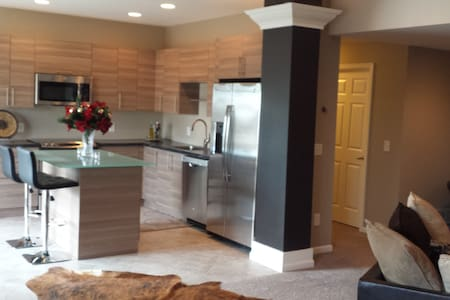 "Contemporary lower level with 70"" flat screen - Prior Lake - Hus"
