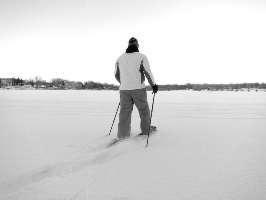 Go Snowshoeing on the frozen Lake during the winter