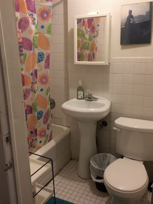 Bathroom includes hair dryer, shampoo, soap, conditioner, towels, etc....