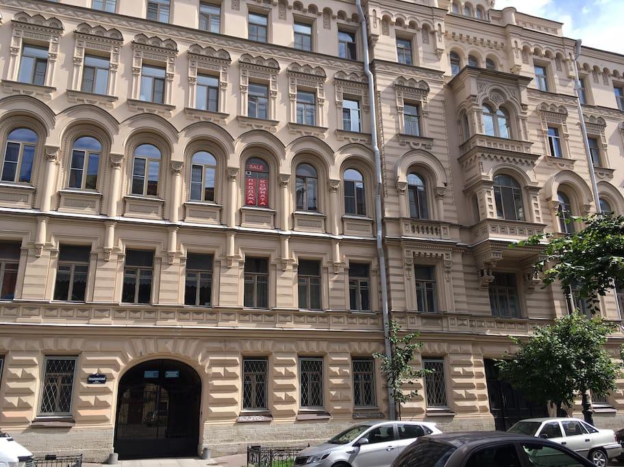 Reside in one of the most beautiful historical buildings of Saint Petersburg in famous Pushkinskaya street