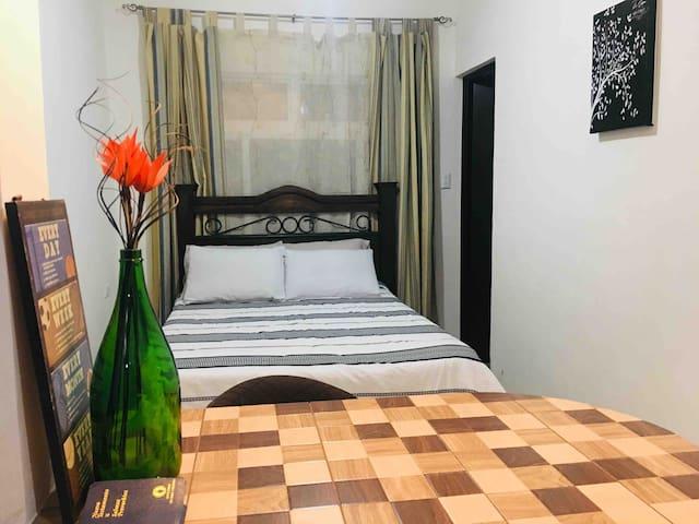 Habitación con cama matrimonial. Baño privado