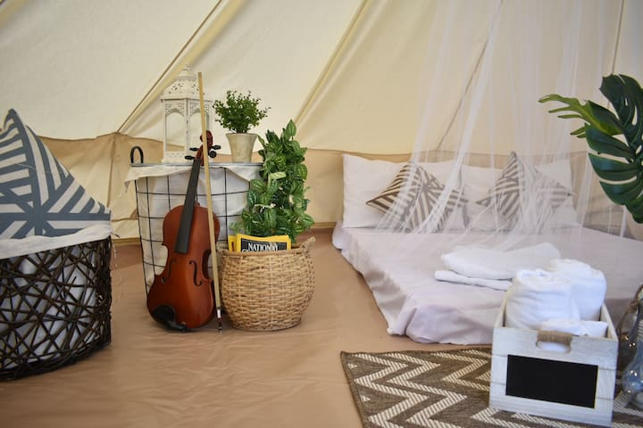 Glamping tents overlooking Taal Lake for couples