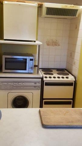Kitchenette with cooker, washing machine, microwave and fridge