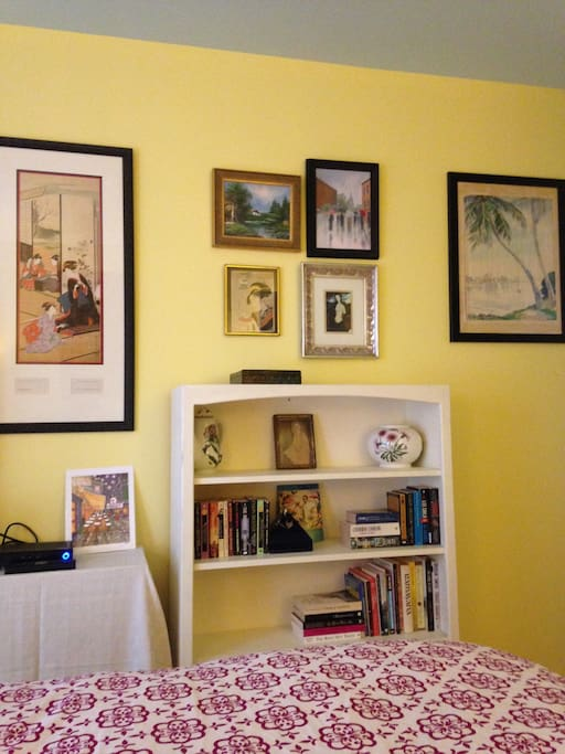 Art in bedroom, and books you can take with you to finish