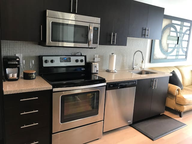 Stylish 1 BR condo near subway with downtown view