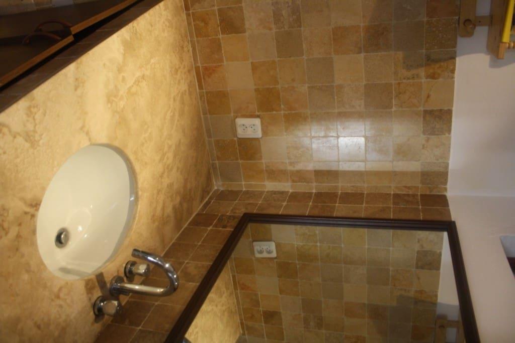 Large marble bathroom