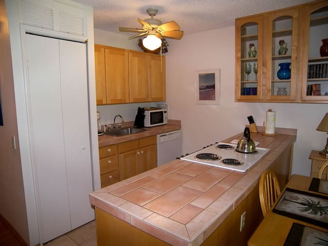Fully equipped kitchen with washer/dryer in side closet