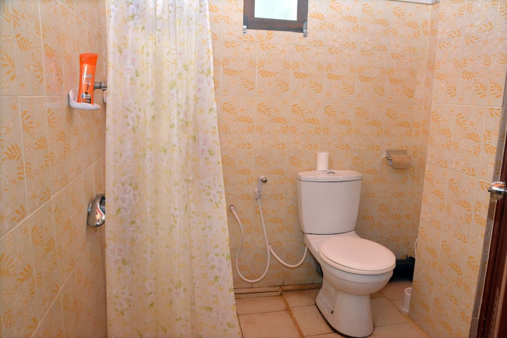Attached bathroom with hot water shower