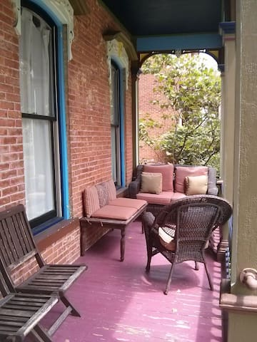 Front porch - vital to the social life in Saratoga Springs.