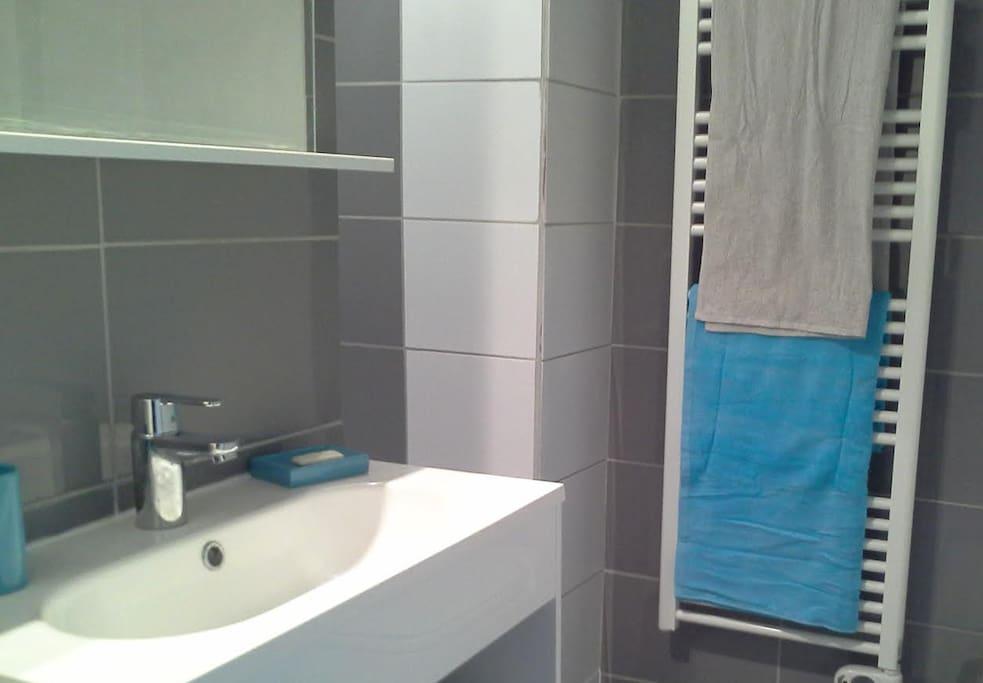 Salle de douche à l'italienne, ouverte sur la chambre.