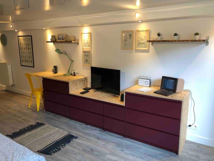 Studio indépendant accès rapide mer et Caen centre