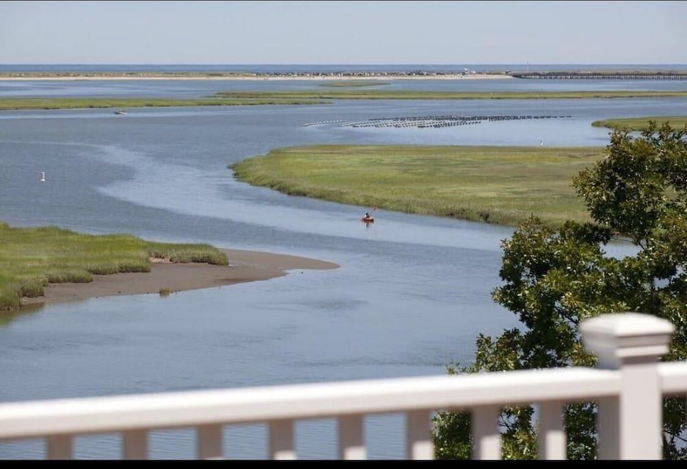 Views of Duxbury Bay, Powder Point Bridge, Duxbury Beach and Back River from our deck!