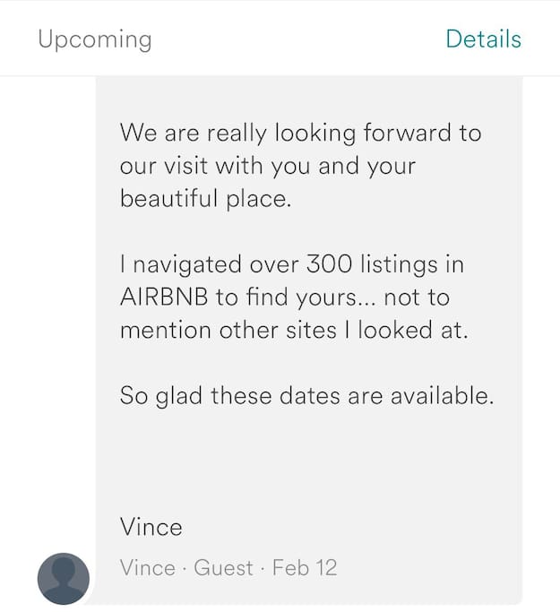 We are grateful for compliments like this one! If you want a very UNIQUE and PRIVATE place, we are it!!