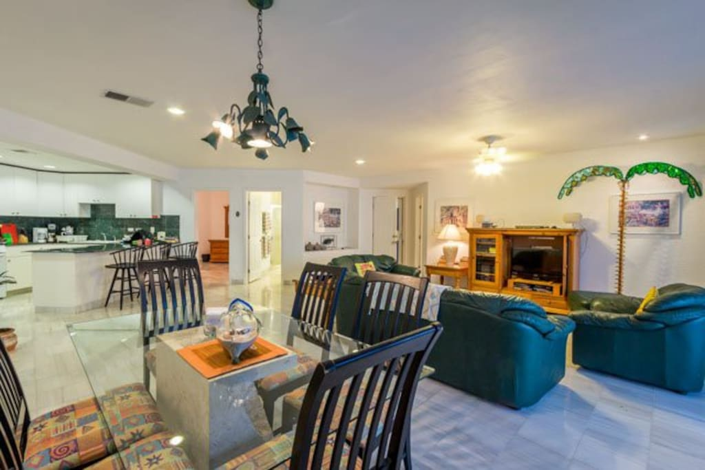 A large common area has living and dining room, and a well equipped kitchen