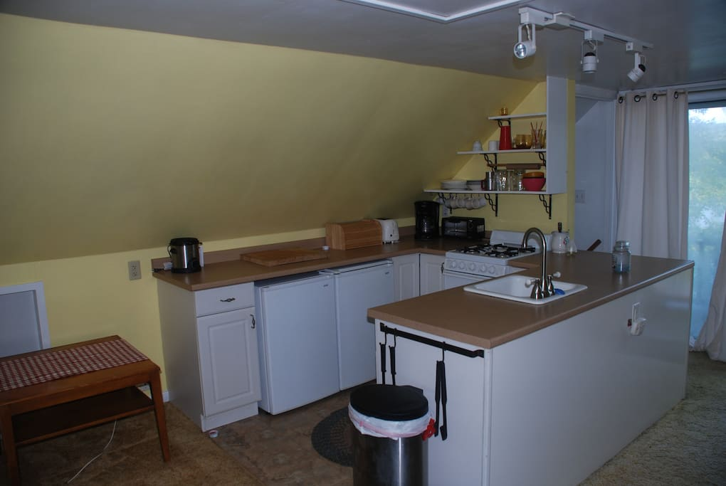 KITCHEN AREA WITH DECK