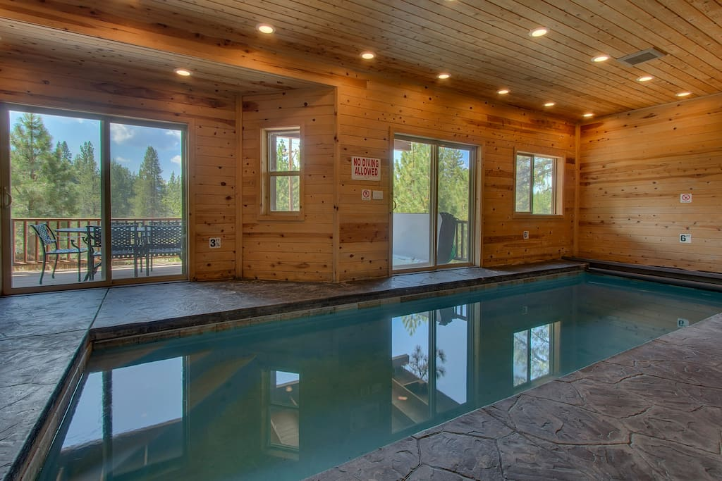 Take a dip in the private indoor pool downstairs and marvel at the magnificent views outside.