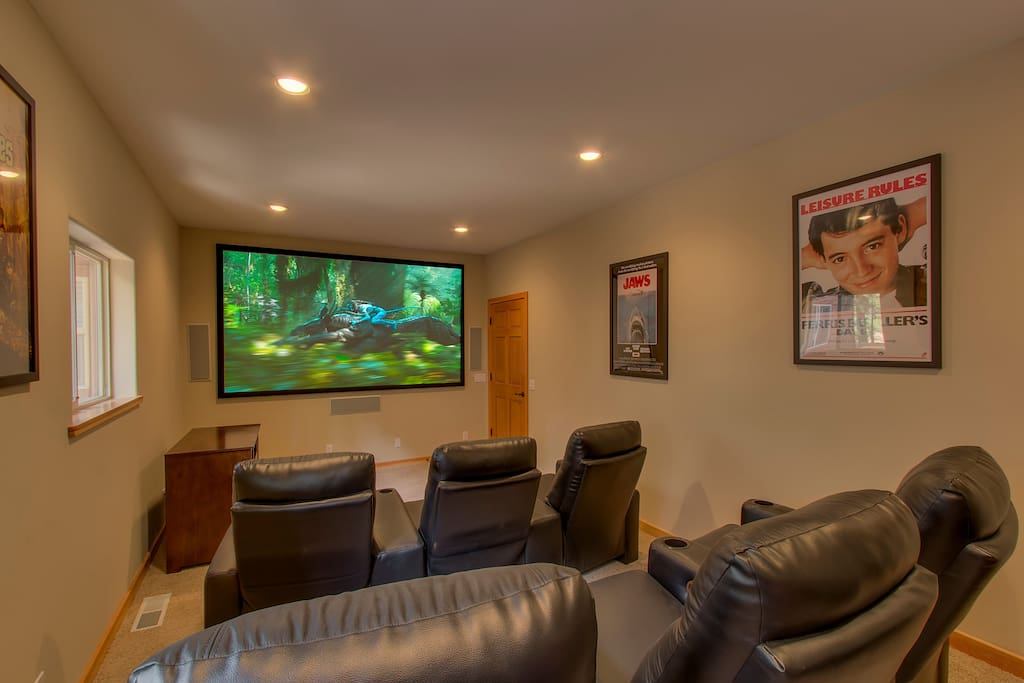 Watch your favorite flick with the whole group in the home theater, with seating for 6.