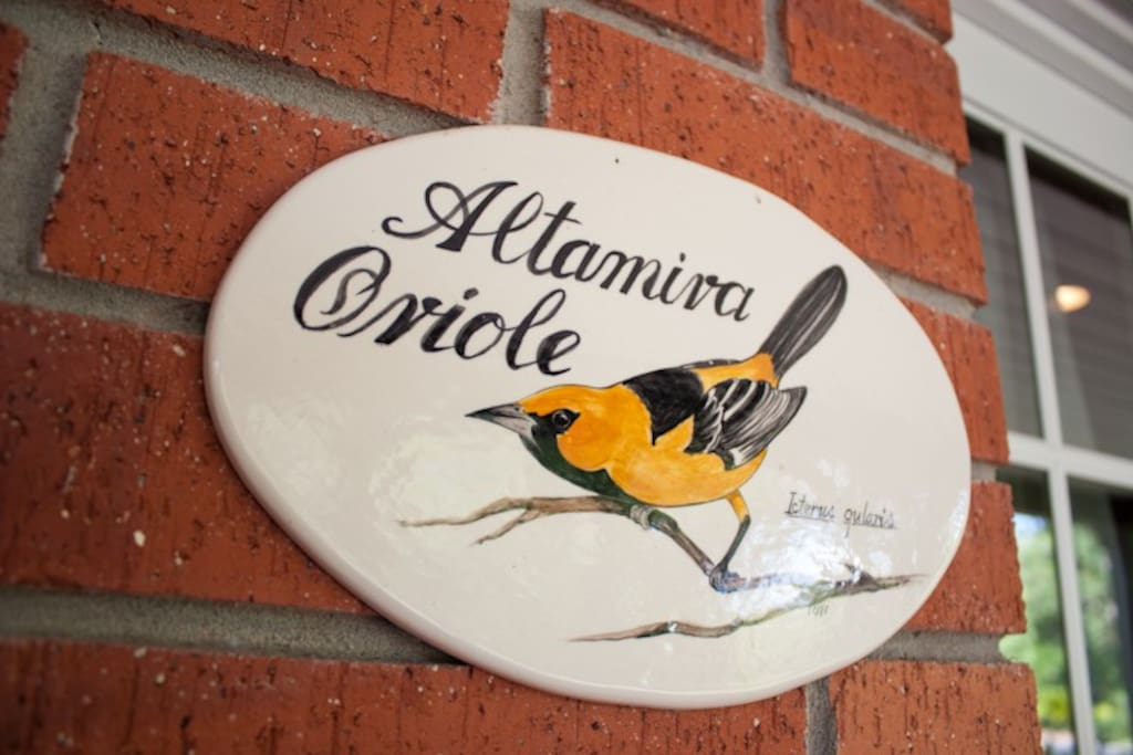 The Altamira Oriole is a ground-level courtyard room, giving out onto a covered patio.