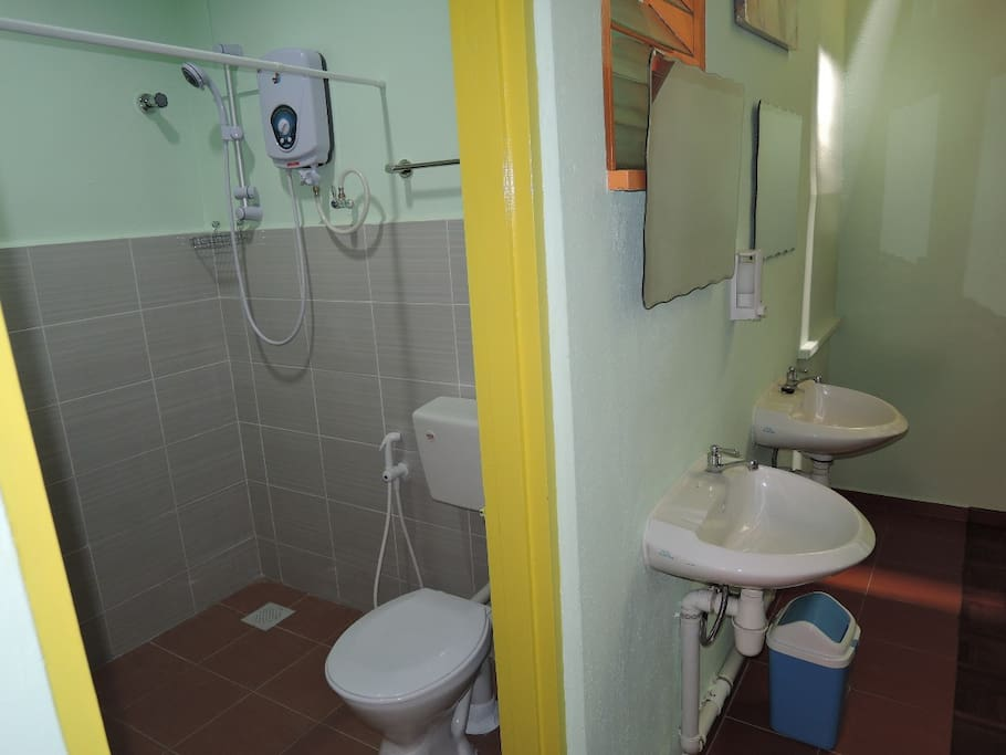 Shared Bathroom with powerful hot shower.