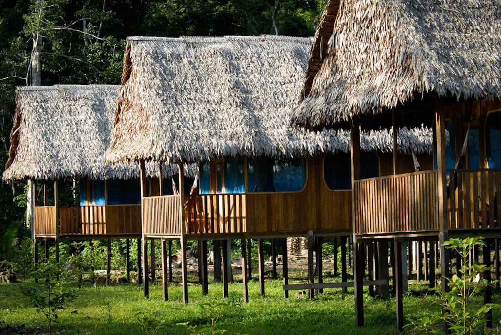 Private bungalows (rooms) with private bathroom, shower and running water. Each bungalow is protected with mosquito proof screens on doors and windows.