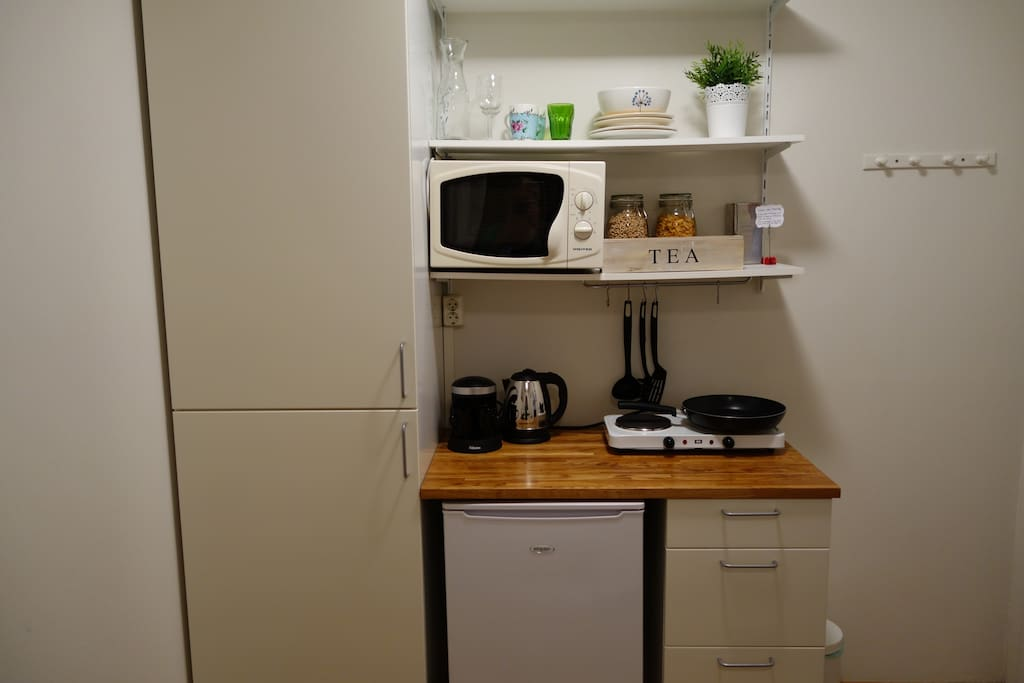The room has a small kitchenette which includes a refrigerator, microwave and two hot plates.