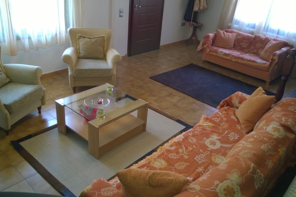 Spacy living room, lower level