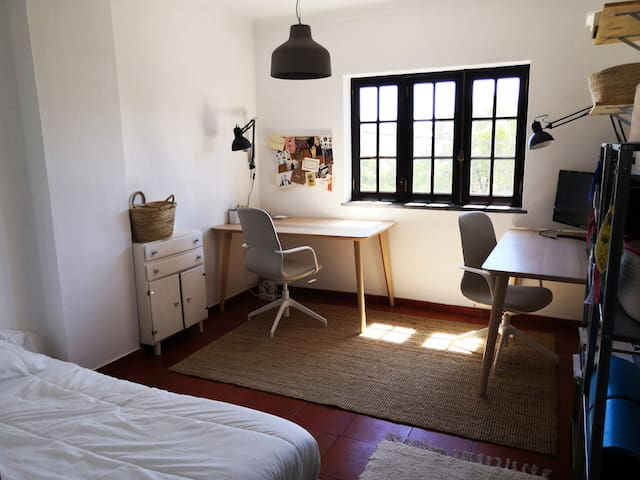 Room 3  (1 double bed and office with 2 tables)