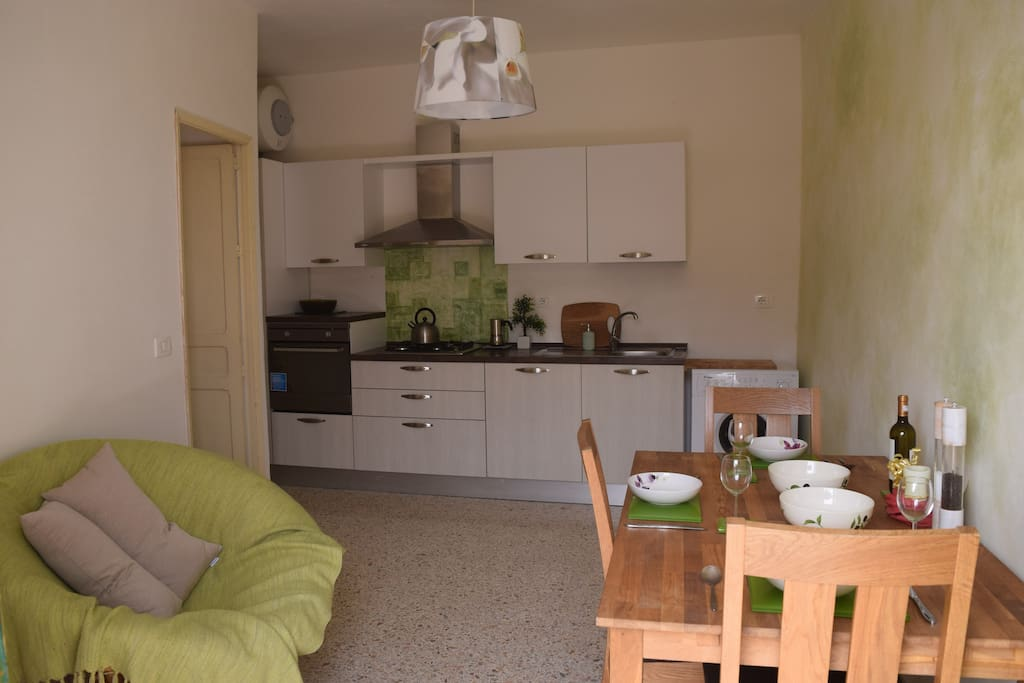 Fully equipped kitchen - oven, hob, utensils, cutlery, crockery,  kettle, washing machine, fridge-freezer