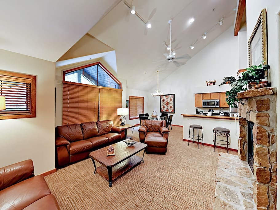 Vaulted ceilings and large windows create a sense of space and light.