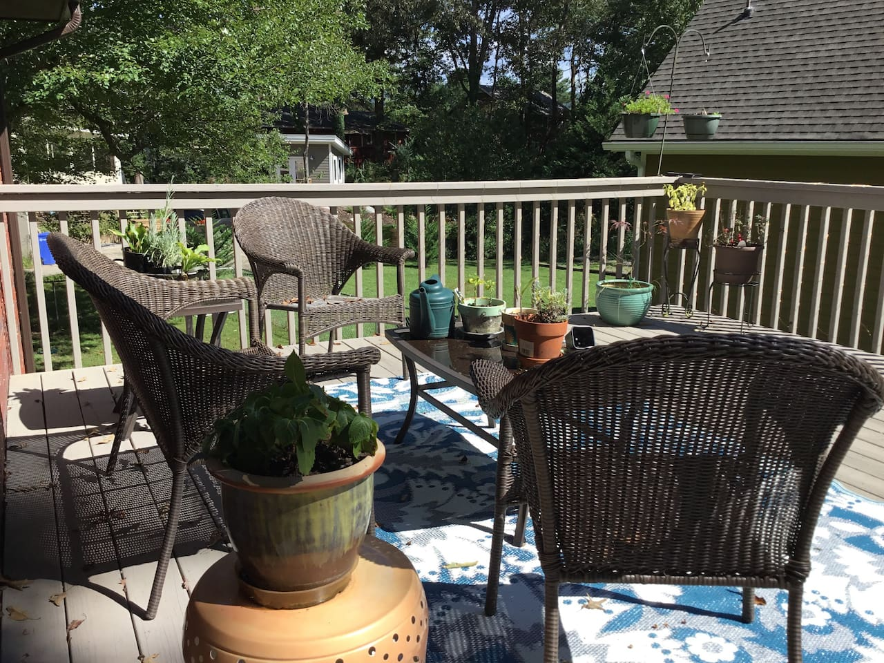 Enjoy your morning coffee on the sunny back deck.