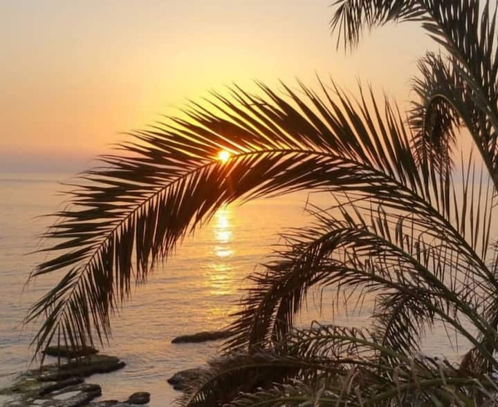 sunset view chalet on the beach in helweh /Byblos
