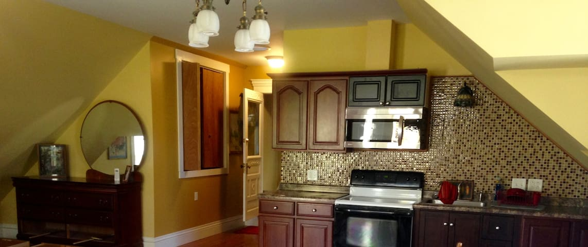 The kitchen is a fully furnished wall in the 800 Sq ft. room.