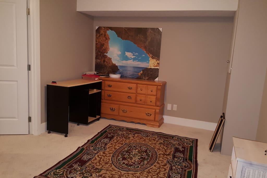 Basement living room with computer Desk & drawer