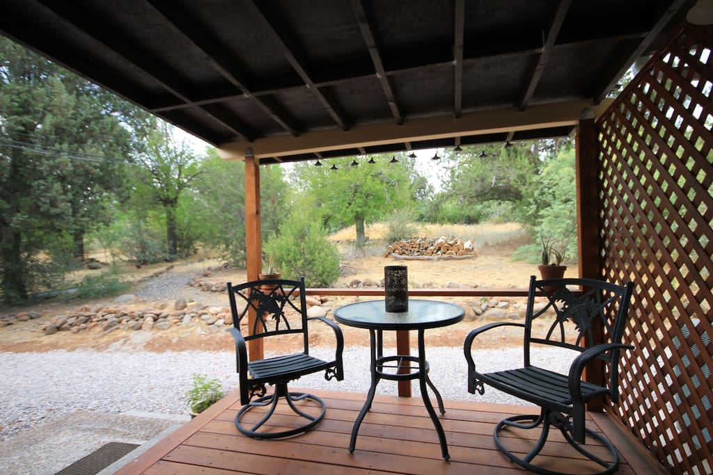 Your private covered porch for breakfast, lunch, or dinners. Or just to breathe in the fresh air!