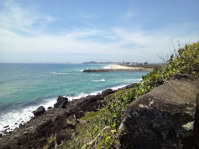View on Palm Beach white sand beach from Burleigh Heads Headland National Park (4kms away)